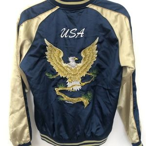 Retro Satin Bomber Jacket USA Eagle Design